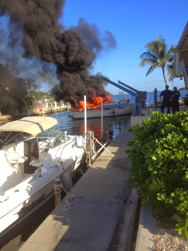 Boat Fire in Key Largo